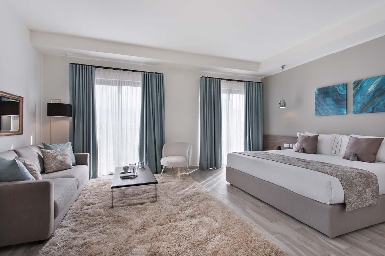 suite room divano in tessuto ignifugo pianca